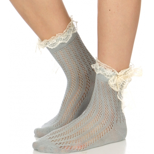 Wholesale J07D Crochet & lace bow anklet socks GR