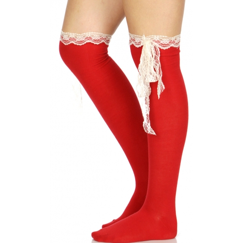 Wholesale T80C Cotton over the knee socks w/ lace bow A