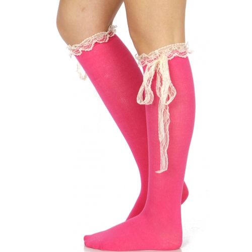Wholesale T82C Cotton knee high socks w/ lace bow A