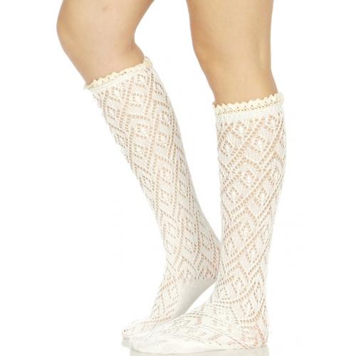 Wholesale S07B Diamond pattern woven crochet lace top knee high socks W