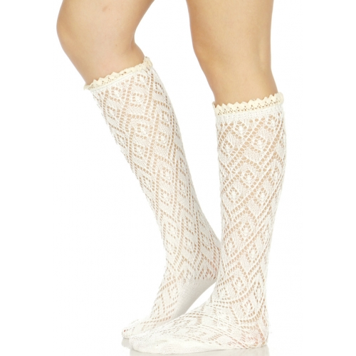 Wholesale S07B Diamond pattern woven crochet lace top knee high socks W