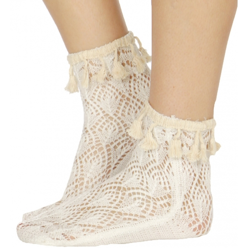 Wholesale T03B Scale pattern woven tassel anklet socks W