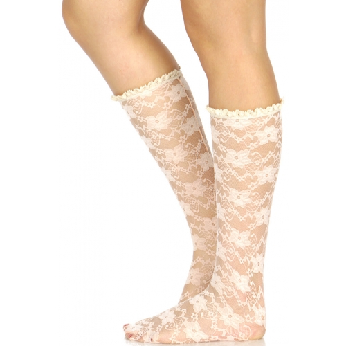 Wholesale H41A Floral pattern lace anklet socks w/ crochet top E