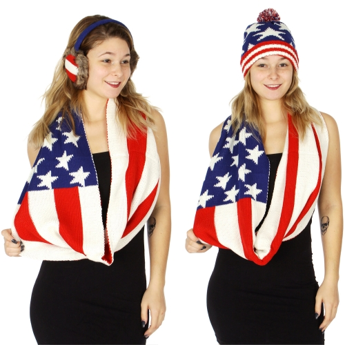 Wholesale S73A American flag Hat/Earmuff/Infinity scarf set FL
