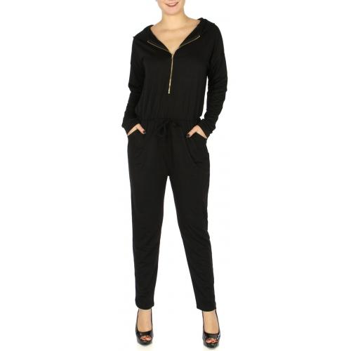 Wholesale S83D Zippered jumpsuit w/ hood Black