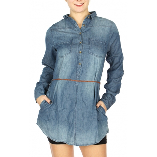 Wholesale S66A Braided belt tunic washed denim shirts Denim