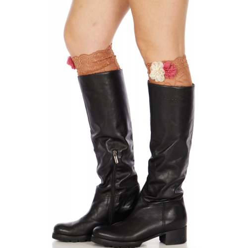 Wholesale S09 Lace boot toppers w/ flower & pearl corsage B