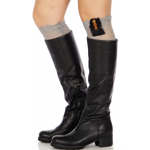 Wholesale S07 Lace boot toppers w/ buttons GRJ