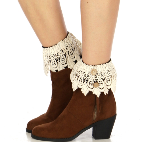 Wholesale Q55 Buttoned solid crochet boot cuff W