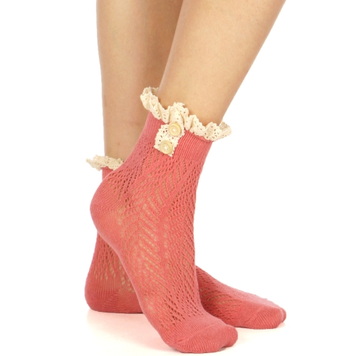 Wholesale R07 Lace & buttons crochet anklet socks J