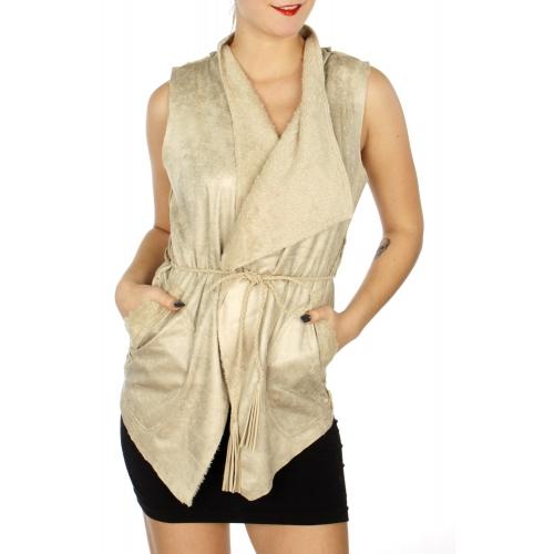 Wholesale N05C Fur lined faux suede vest w/ braided belt Grey