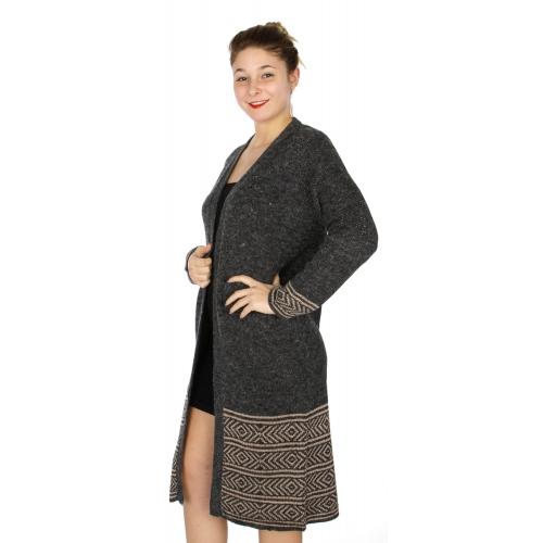 Wholesale N03C Knit long open front arrrows cardigan Burgundy