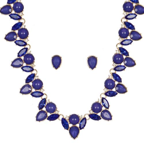 Wholesale WA00 Pear shaped stones necklace & earrings set GDBL
