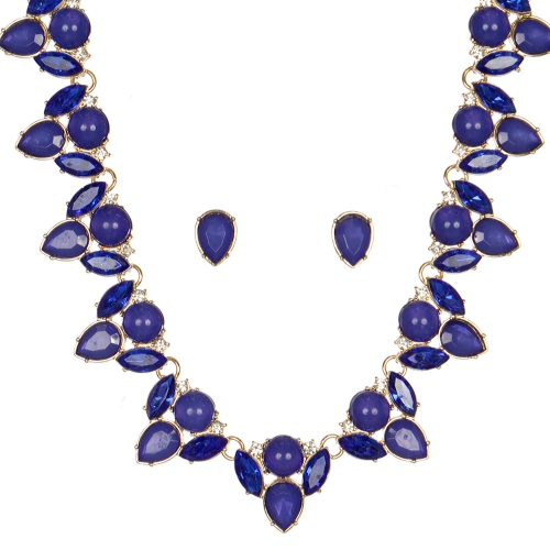 Wholesale WA00 Pear shaped stones necklace & earrings set GDBL