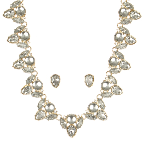 Wholesale WA00 Pear shaped stones necklace & earrings set GDCR