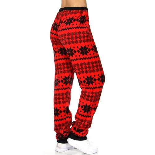 Wholesale Q66C Pattern Snow flakes cozy plush long fleece pants Red