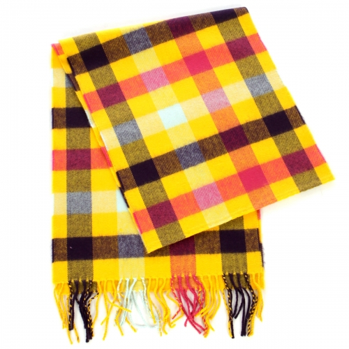 Wholesale P33C Checkered cashmere feel scarf YL/PK