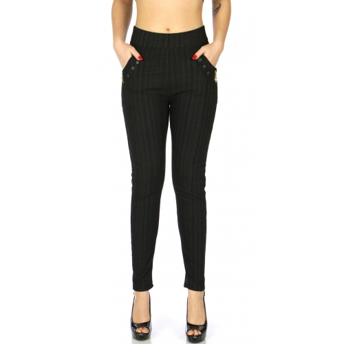 Wholesale C15C Fleece jeggings with zip and pocket Black