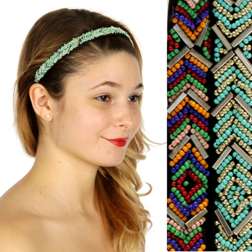 Wholesale M04D Chevron pattern beaded Headband Dozen