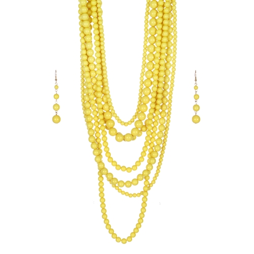 Wholesale M24E 7 Multi Layer Pearl Beads Necklace Set  YE