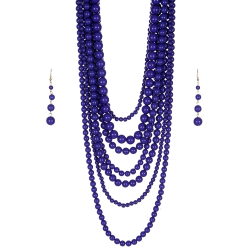 Wholesale M24E 7 Multi Layer Pearl Beads Necklace Set  BL