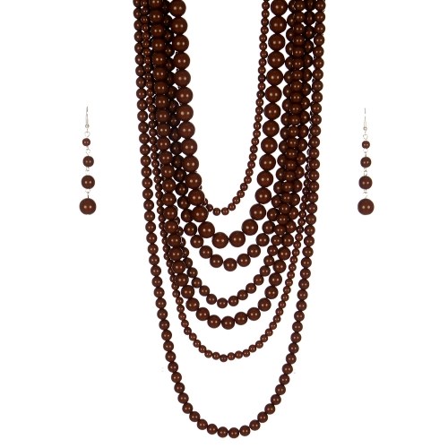 Wholesale M24E 7 Multi Layer Pearl Beads Necklace Set  BN