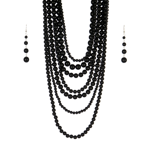 Wholesale M24E 7 Multi Layer Pearl Beads Necklace Set  BK