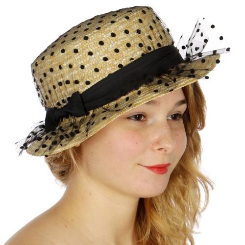 Wholesale V69C Polka dot mesh straw boater hat Beige