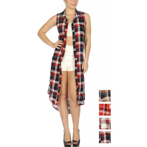 Wholesale H38D Sleeveless plaid button up long shirt dress Red