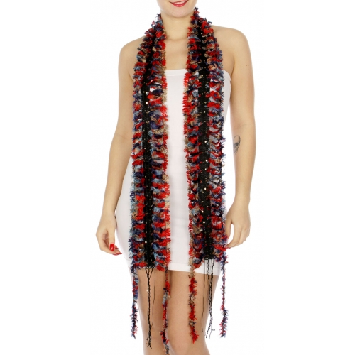 Wholesale H51A Sequined furry thin scarf w/ fringes BLRD