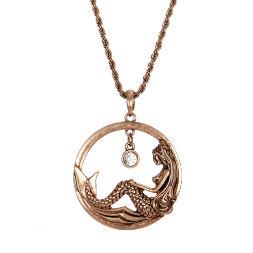 Wholesale M28B Mermaid & rhinestone pendant necklace COP