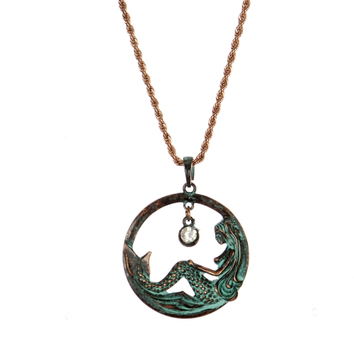 Wholesale M28B Mermaid & rhinestone pendant necklace OG