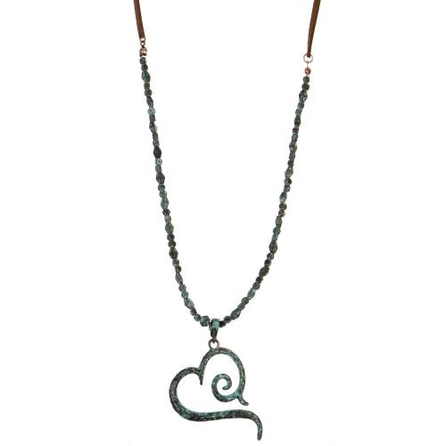 Wholesale M28B Heart pendant necklace w/ metal pebble & faux suede string OG