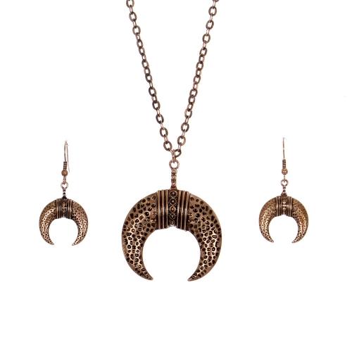 Wholesale M28C Crescent moon pendant necklace set COP