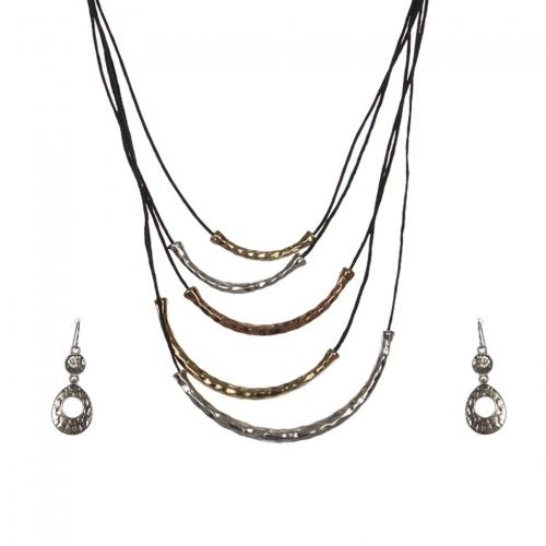 Wholesale M28C Metal tubes & faux leather necklace set MT