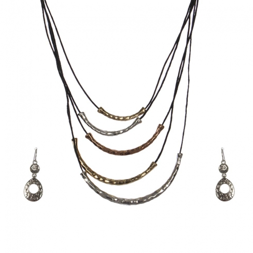 Wholesale M28C Metal tubes & faux leather necklace set MT