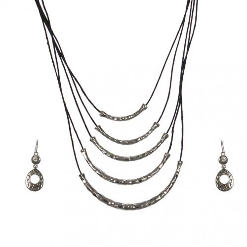 Wholesale M28C Metal tubes & faux leather necklace set S