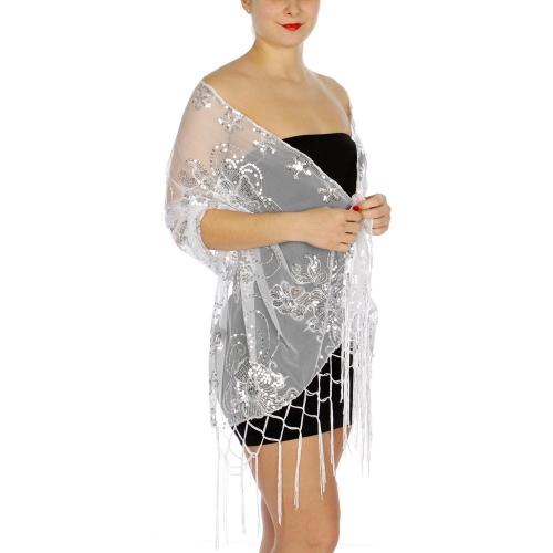 Wholesale G20D Fancy floral sequined mesh shawl BK