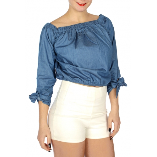 Wholesale N35B Off the shoulder crop top w/ tie sleeve Denim