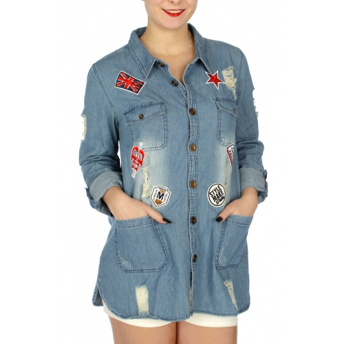 Wholesale N35C Distressed denim shirt w/ patches Washed Blue