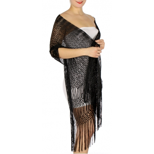 Wholesale H37E Triple fringe lurex shawl BK