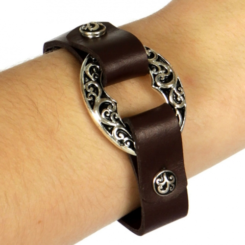 Wholesale WA00 Filigree carved ring design snap on leather bracelet ASB