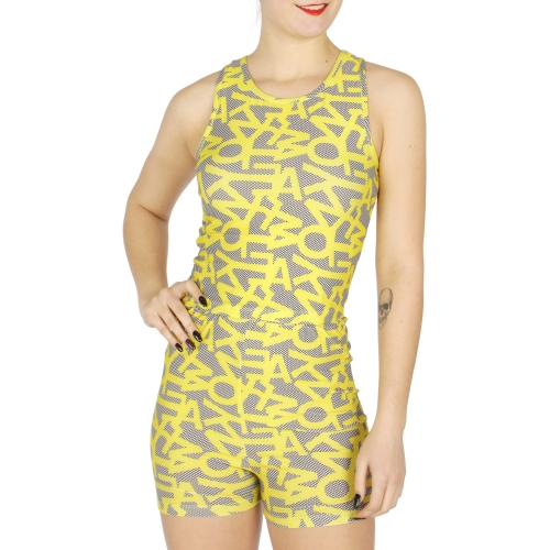 Wholesale F04 Neon lips sleeveless top and high rise shorts set