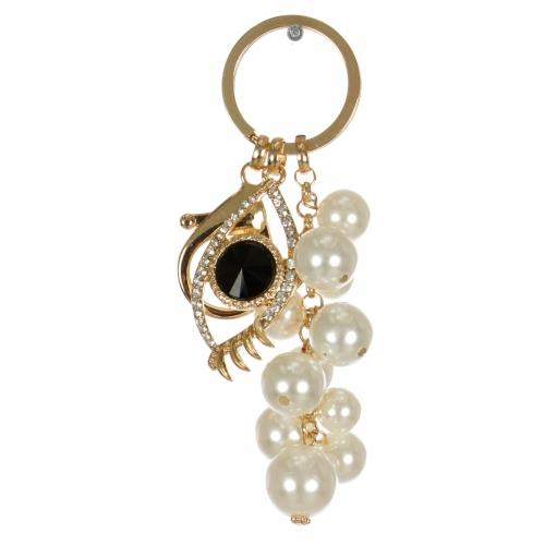 Wholesale WA00 Jeweled eye & faux pearl keychain GBK