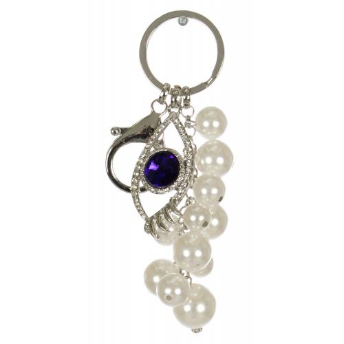 Wholesale WA00 Jeweled eye & faux pearl keychain RBL