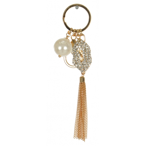 Wholesale WA00 Rhinestone clustered lips & tassel keychain GCL