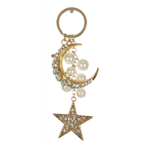 Wholesale WA00 Crescent moon & star jeweled keychain GCL