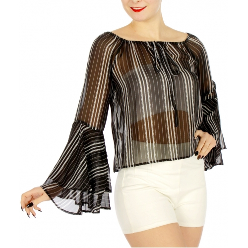Wholesale K31D Trumpet sleeves striped sheer top Black/White