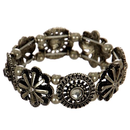 Wholesale WA00 Flowers & rhinestone stretch metal bracelet SB