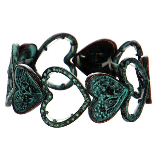 Wholesale WA00 Hearts metal stretch bracelet OG